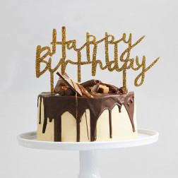 Cake Topper Happy Birthday gold acryl