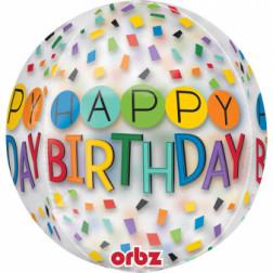 Folienballon Orbz Birthday Rainbow 40cm