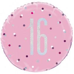 Folienballon 16 rosa 45cm