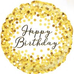 Folienballon Happy Birthday gold 45cm
