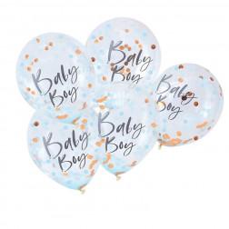 Luftballons Baby Boy Konfetti 5 Stück