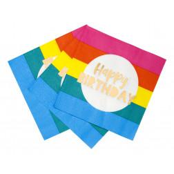 Servietten Rainbow Happy Birthday 16 Stück