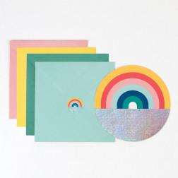 Einladungskarten Regenbogen 8 Stück