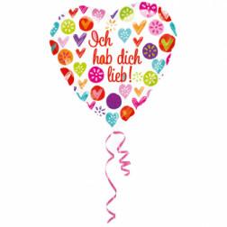 Folienballon Herz Ich hab dich lieb 43 cm