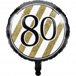 Folienballon Black Gold 80 Geburtstag 45cm