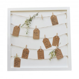 Wooden Peg & String & Tag Frame Alternative Guest Book