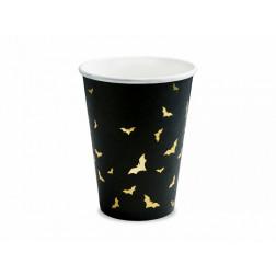 Pappbecher Fledermaus schwarz gold 6 Stück