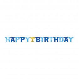 Happy 1st Birthday Banner blau