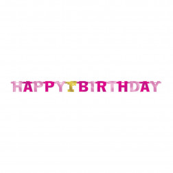 Happy 1st Birthday Banner pink