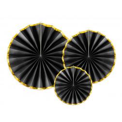 Rosette schwarz gold 3 Stück