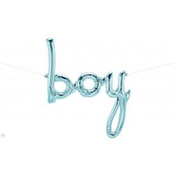 Air Folieballon Boy Schriftzüge Pastel Blue 114cm