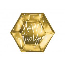 Pappteller Happy New Year gold 20cm 6 Stück