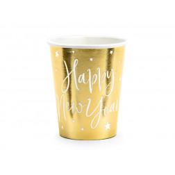 Pappbecher Happy New Year gold 6 Stück