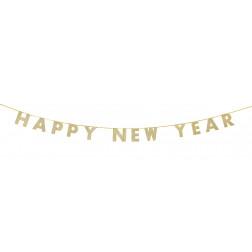 Banner Happy New Year Glitter Gold 3m