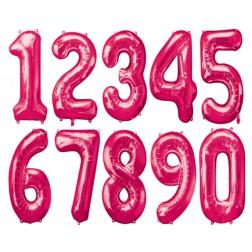 Folien Ballone - Zahlen pink von 0 bis 9